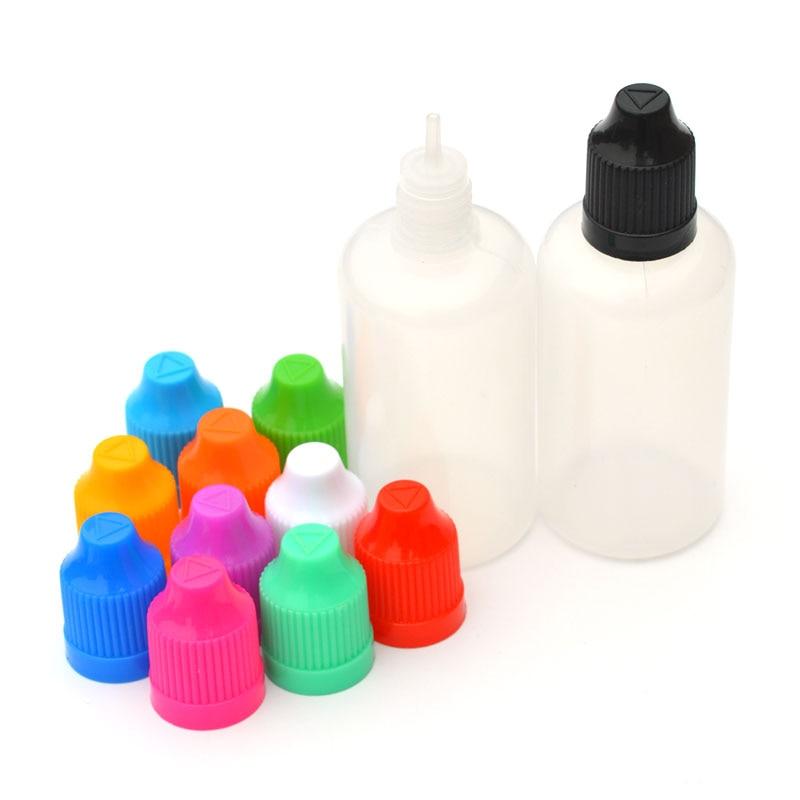 50 garrafa plástica vazia do conta-gotas dos pces 50ml com tampão à prova de crianças para a garrafa líquida 50ml do aperto do ego e do cigarro eletrônico