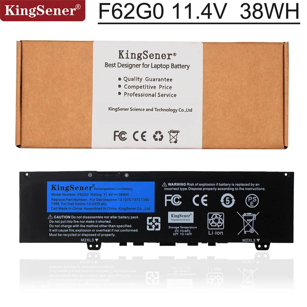 AliExpress - Kingsener F62G0 Laptop Battery For DELL Inspiron 13 7370 7373 7380 7386 Vostro 5370 P83G P87G P91GRPJC3 39DY5 11.4V 38WH