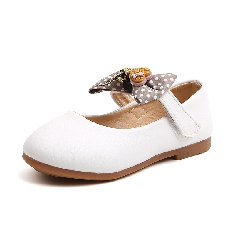 Children's Butterfly-knot Heart Shallow Flats Casual Bow-knot Soft Girls Princess Leather Shoes For Little Kids Spring Autumn