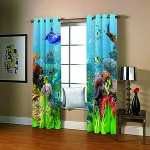 3D Curtain Blackout underwater world Curtains For Lving Room Bedroom Thick Silk Window Curtain Children's Cortinas para la sala