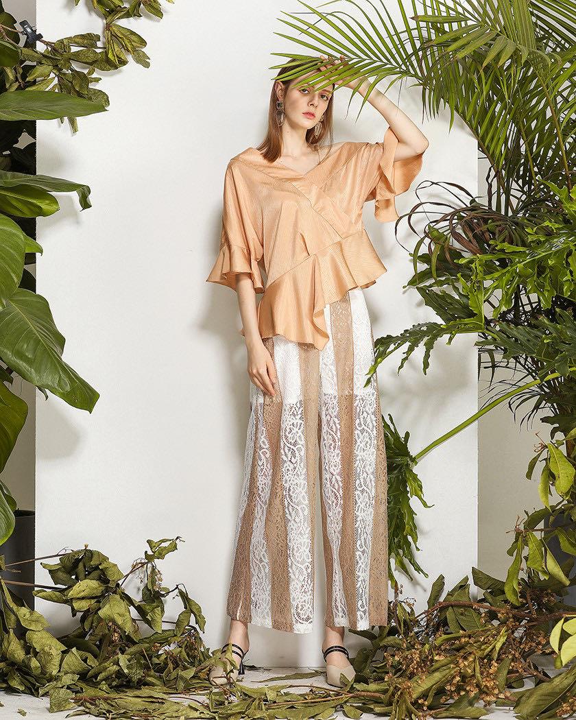 Women's Silky Off-shoulder Lotus Leaf Top,Designer tops for Ladies enlarge