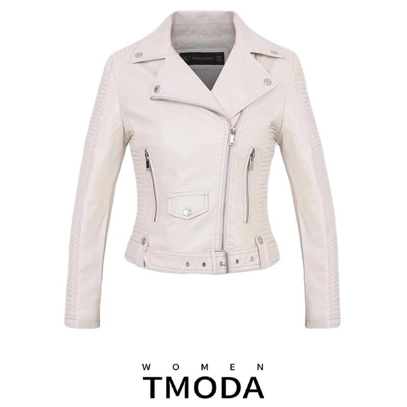 TMODA249 Za 2021 новые осенние женские мотоциклетные Белые Куртки из искусственной кожи для женщин Байкерская Верхняя одежда Пальто с бархатной подкладкой