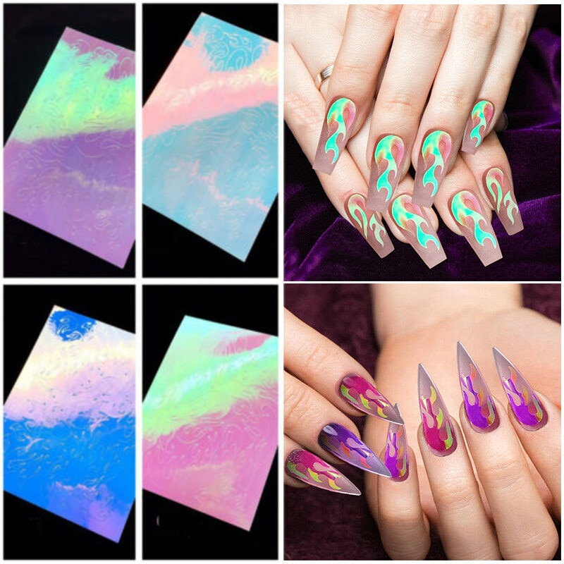 16pcs 3D Glitter Nail Stickers Foil Transfer Decals Laser Holographic Flame Hollow Designs DIY Tips Nail Art Decorations Set 10pcs holographic nail foil set transparent ab color transfer sticker decorations 2 5 100cm mix designs manicure nail art decals