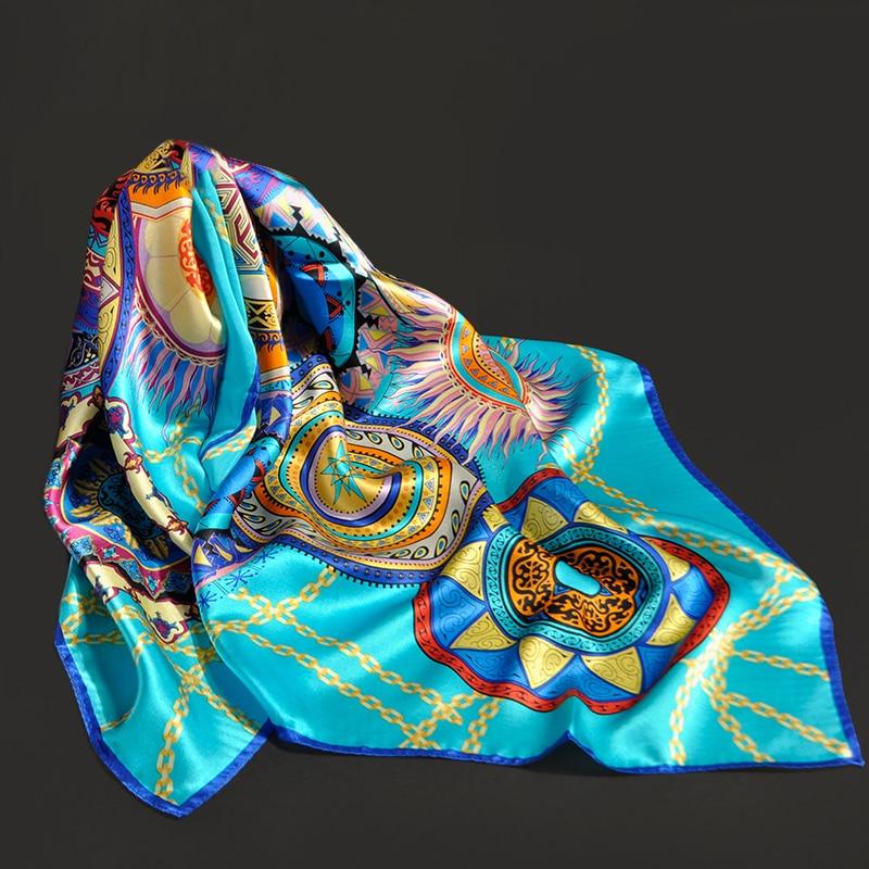 Square 100% Silk Scarf Women Headscarf Print Bandana Luxury Kerchief Pure Muffler Neckerchief 88x88cm