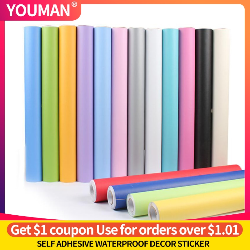 YOUMAN Wallpapers Self Adhesive Film Vinyl Furniture Wall Stickers PVC Modern Kitchen Cupboard Cabinet For Decorative