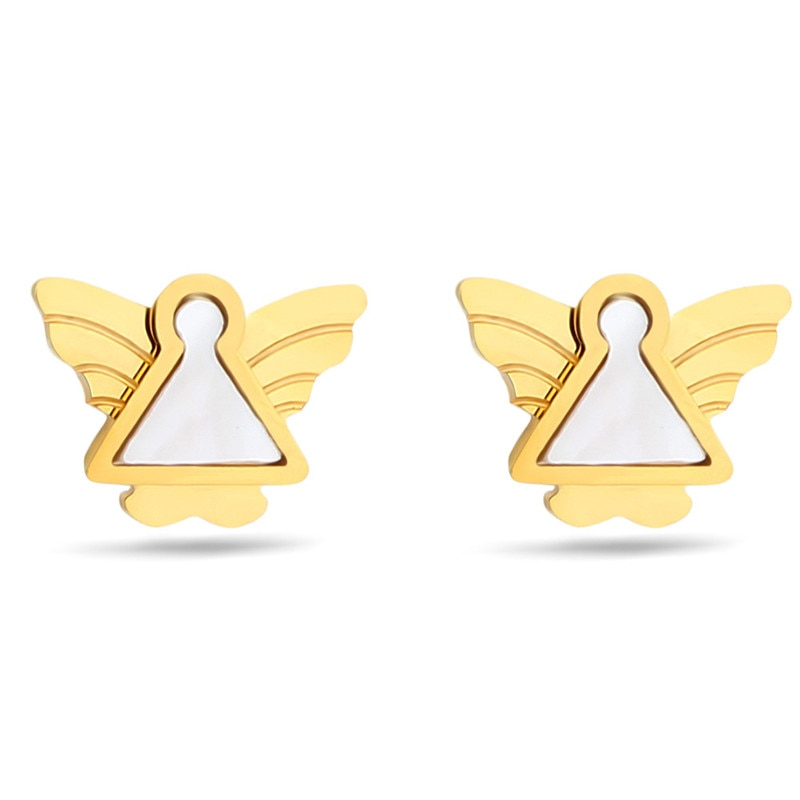 Gran oferta 2020 pendientes de Ángel a la moda con conchas de cristal de swarovscis Simple hipoalergénico de acero de titanio joyería adecuado para chicas