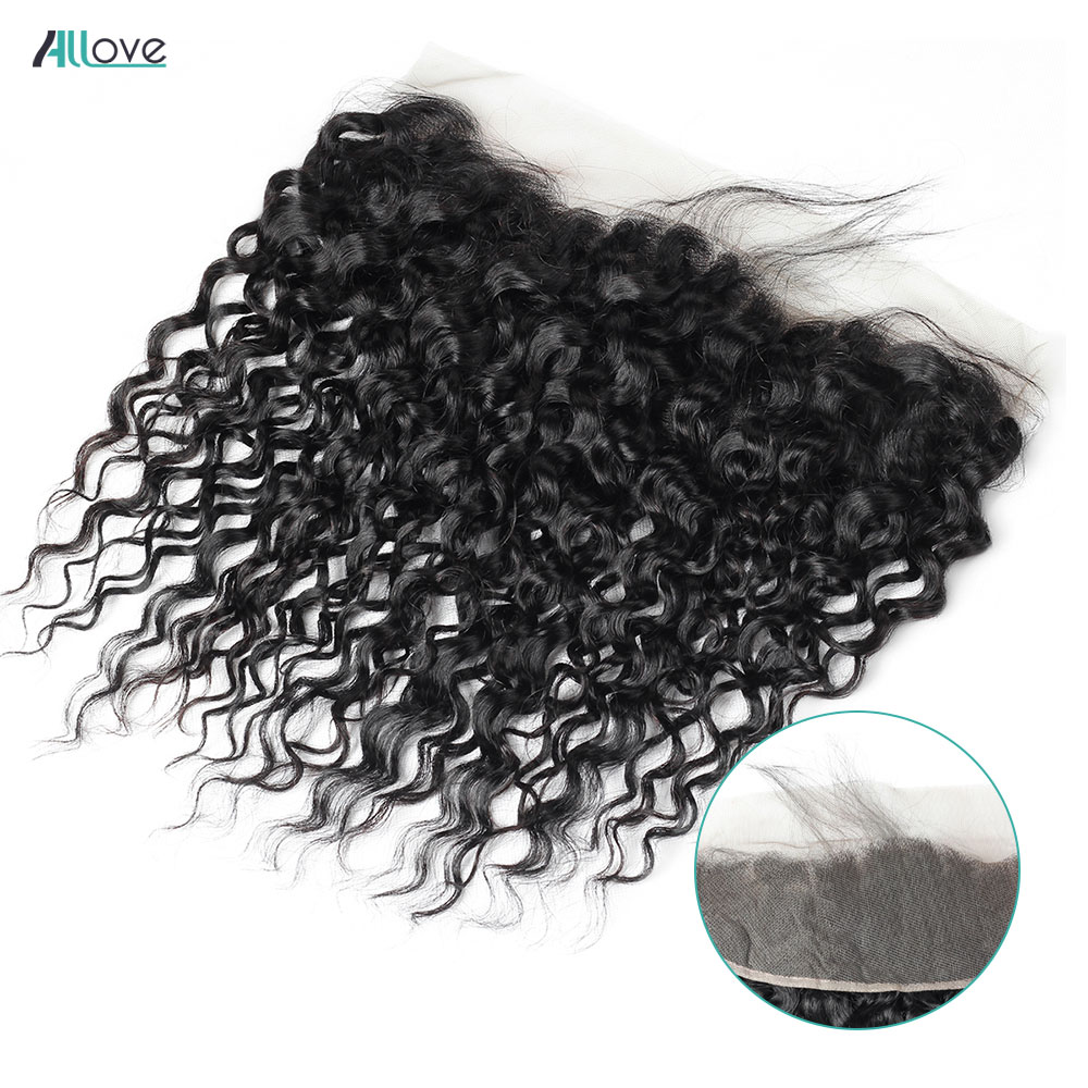 Allove Water Wave Frontal Pre Plucked 13X4 Lace Frontal Closure With Baby Hair Free Part Remy Brazilian Human Hair Closure
