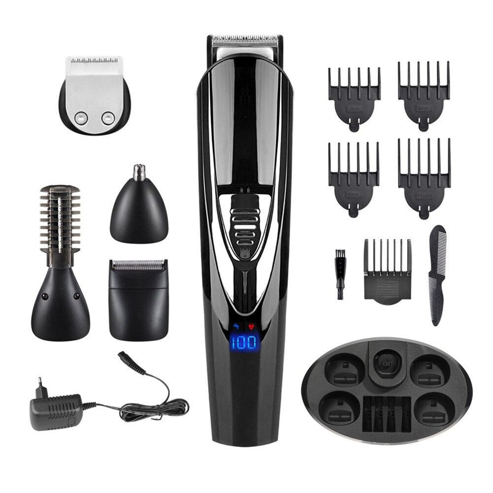 ماكينة قص الشعر الكهربائية الاحترافية للرجال ، مقاومة للماء ، شاشة LCD ، شحن مزدوج ، ماكينة قص الشعر ، ماكينة تشذيب اللحية ، قاعدة شحن