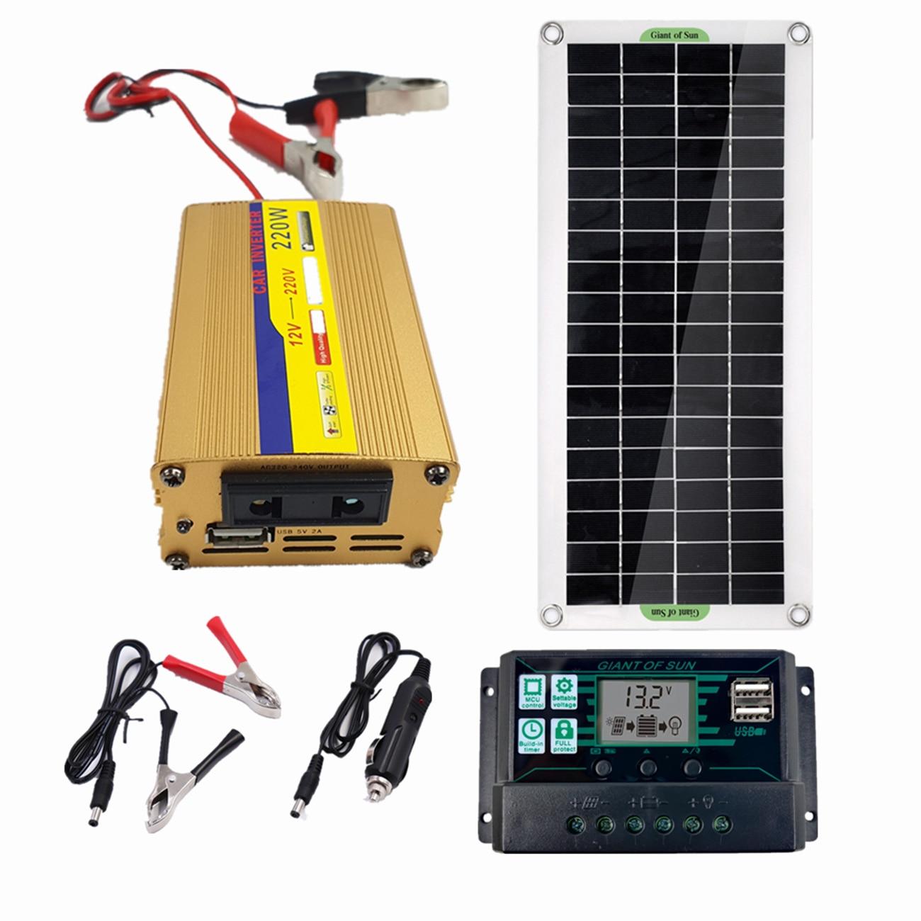 220 فولت 30 واط لوحة طاقة شمسية + 220 واط العاكس + 60A MPPT تحكم نظام الطاقة الشمسية USB لشحن الطاقة