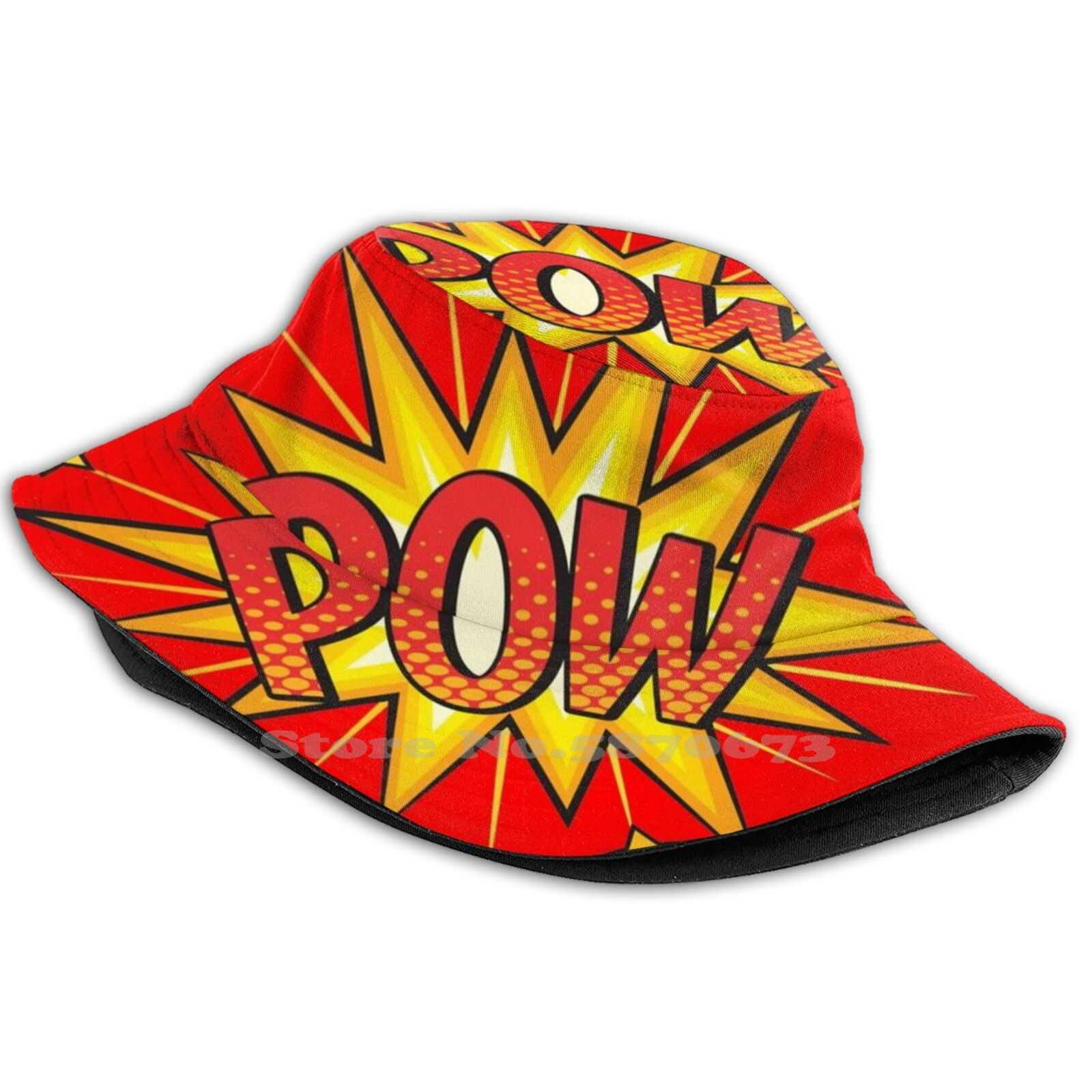 Pow! Uv Protection Foldable Bucket Hats Women Men Cosplay Love Friend Superhero Shazam Dark Horse Ironman Incredibles 19