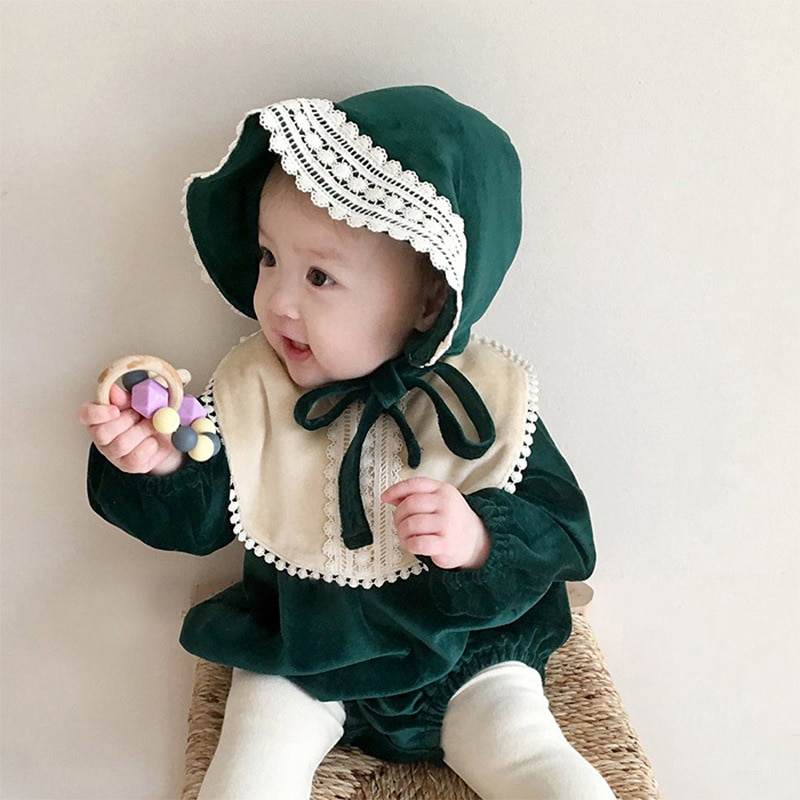 Spring and Autumn Childrens Clothing Baby Rompers One Hundred Days Western-style Ladies Princess Siamese Triangle Romper
