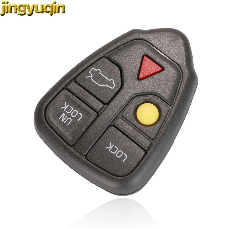 jingyuqin 30pcs Remote Car Key Shell For Volvo Volvo XC70 XC90 V50 V70 S60 S80 C30 5 Buttons Smart Keyless Case Fob
