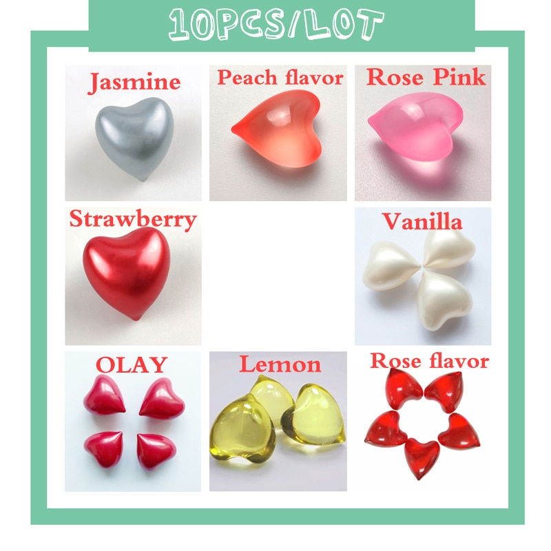 10PCS/Lot SPA Bath Oil Beads shower oil Floral Fragrance Pearls Rose Heart-Shaped 4.2g/pcs