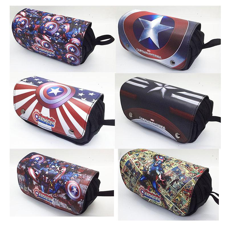 Nuevos cómics bolso de Anime Capitán América Batman Superman Iron man y Deadpool cremallera lápiz bolsas Unisex cosmético bolsa caso