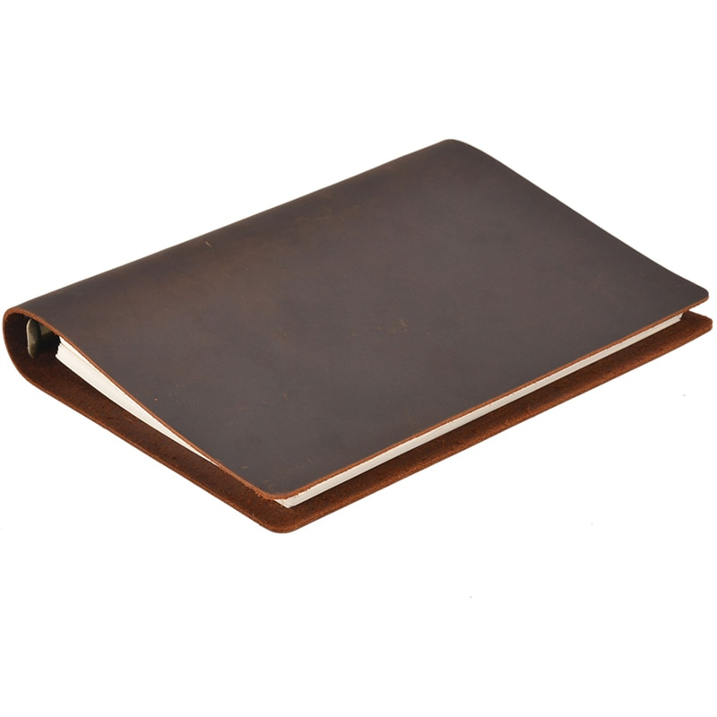 A5 Genuine Leather Cover Notebook 100 Sheets Loose Leaf Diary Travel Journal Sketchbook Planner Gift Office