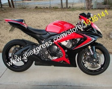 Für Suzuki GSX-R 600 750 K6 2006 2007 Teile GSXR 600/750 06 07 Rot Schwarz Aftermarket Verkleidung Kit (spritzguss)