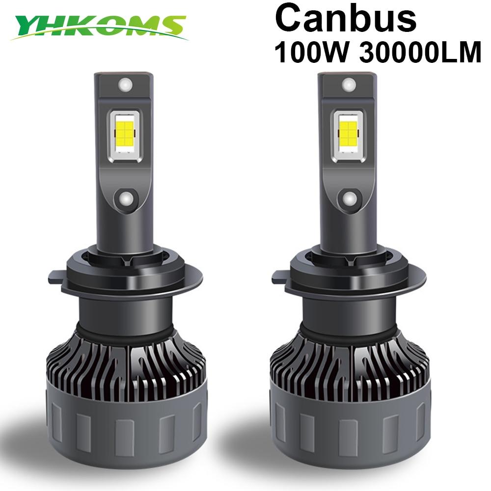 YHKOMS 100W 30000LM H4 H7 Canbus LED H1 H8 H9 H11 9005 HB3 9006 HB4 9012 Car LED Light Headlight  Turbo Fog Lamp 6000K 12V