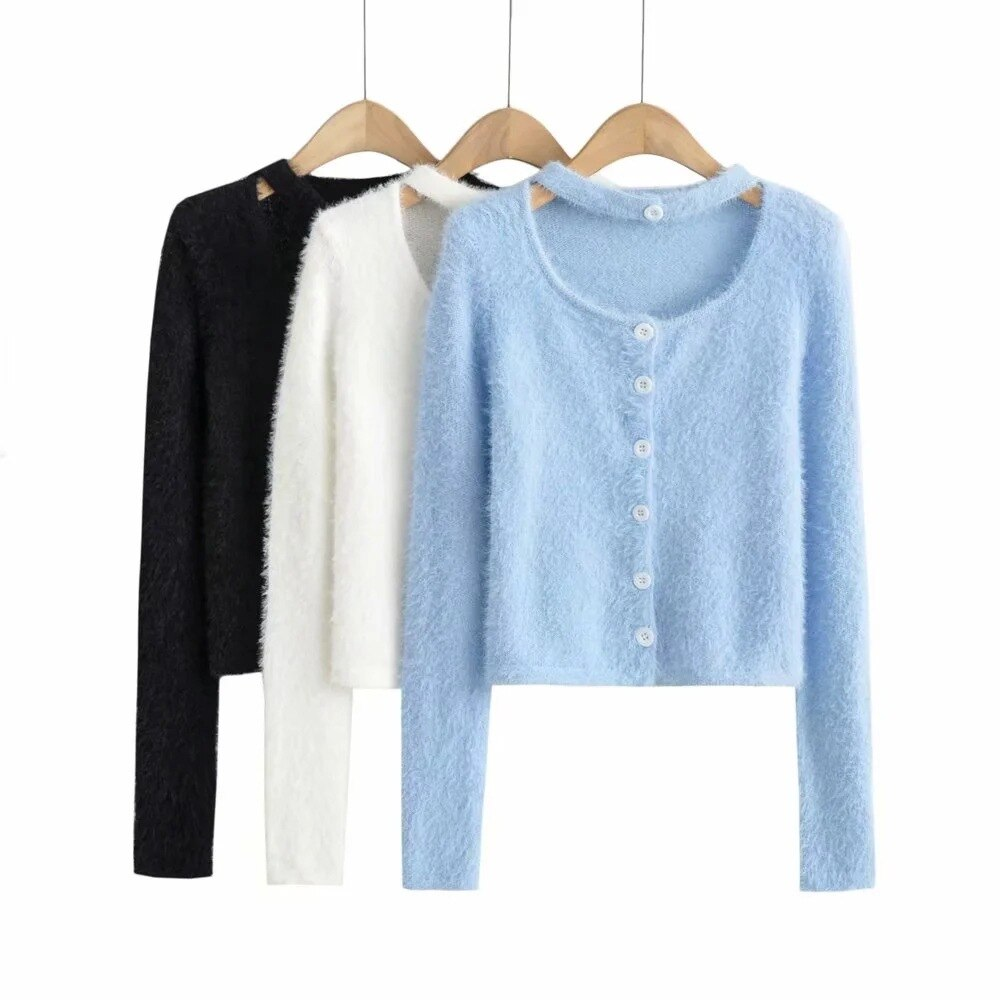 ENGAGEMENT za 2021 female Lightly cooked halterneck mohair-breasted sweater autumn women slim crop top