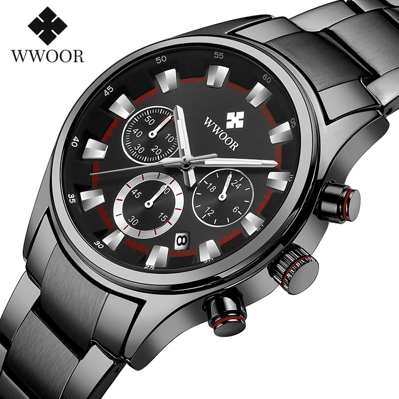 WWOOR Black Full Steel Sport Watches Men 2020 Luxury Business Military Waterproof Wrist Watch Men Luminous Quartz Watch With Box