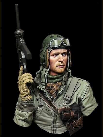 1/10 US Tank Crew antiguo hombre busto figura de resina en miniatura kits miniatura gk Unassembly sin pintar