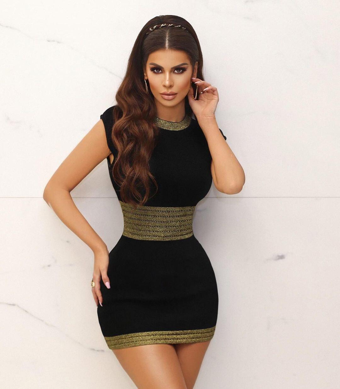 الصيف المرأة س الرقبة بلون أكمام الأرداف لباس غير رسمي فستان قصير ضمادة