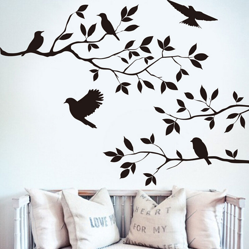 DIY Art Vinyl Decalques Sala Removível Árvore E Pássaros Adesivos de Parede Arte Mural Decoração Da Casa Do Produto