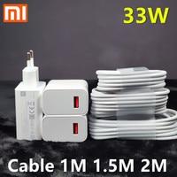 Оригинальное зарядное устройство Xiaomi 33 Вт с функцией быстрой зарядки с европейской вилкой, 2 м, 1,5 м, кабель Type-C для Mi 10, 9, 10T Lite, POCO X3, NFC, Redmi K40, ...