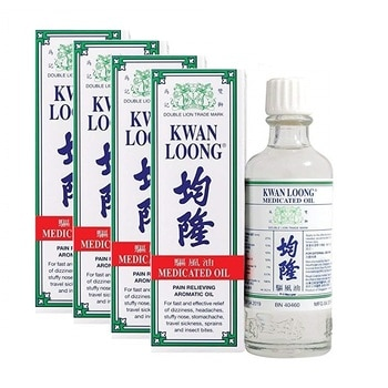 【4 Bottles】KWAN LOONG PAIN RELIEVING AROMATIC OIL 57ML - Family Size