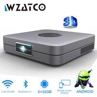 WZATCO     Mini projecteur 3D pour home cinema  avec prise en charge de HD integrale  300 pouces 5G et WiFi pour projection de video  1920x 1080P  32 Go  AC3  Android