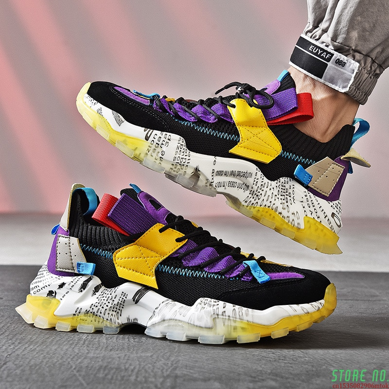 Masculinos de Moda Original dos Homens Tênis Colorida Casuais Sapatos Plataforma Respirável Jelly Sole Zapatillas Hombre 2021