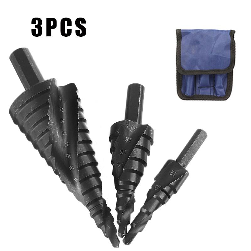 3Pcs/Set 4-32MM HSS High Speed Steel Spiral Cobalt Step Drill Bit Set Nitrogen For Metal Cone Triangle Shank Hole Bit opener