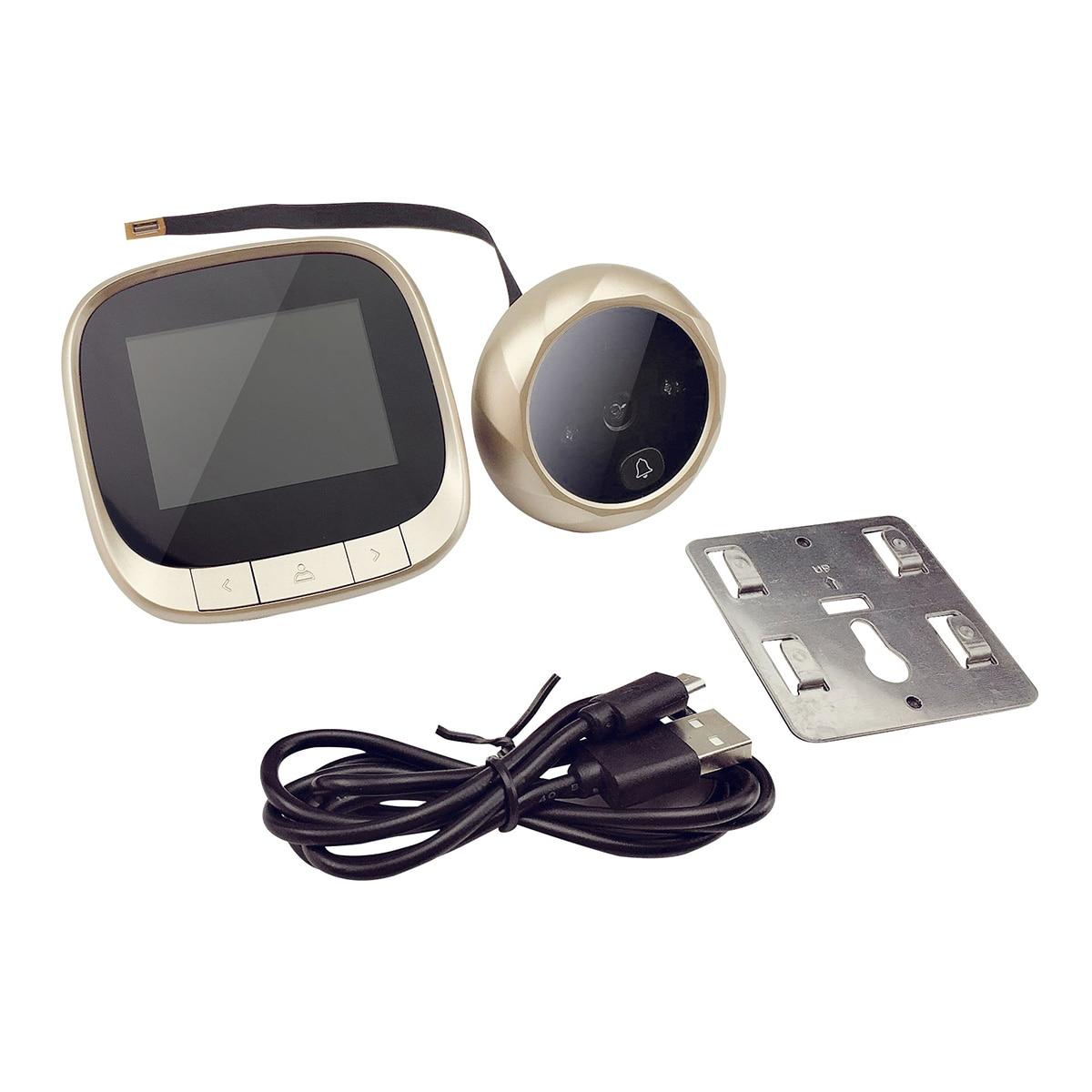 جرس باب إلكتروني بشاشة LCD مقاس 2.4 بوصة ، جرس باب رقمي لاسلكي ، شاشة هاتف داخلية عين القط
