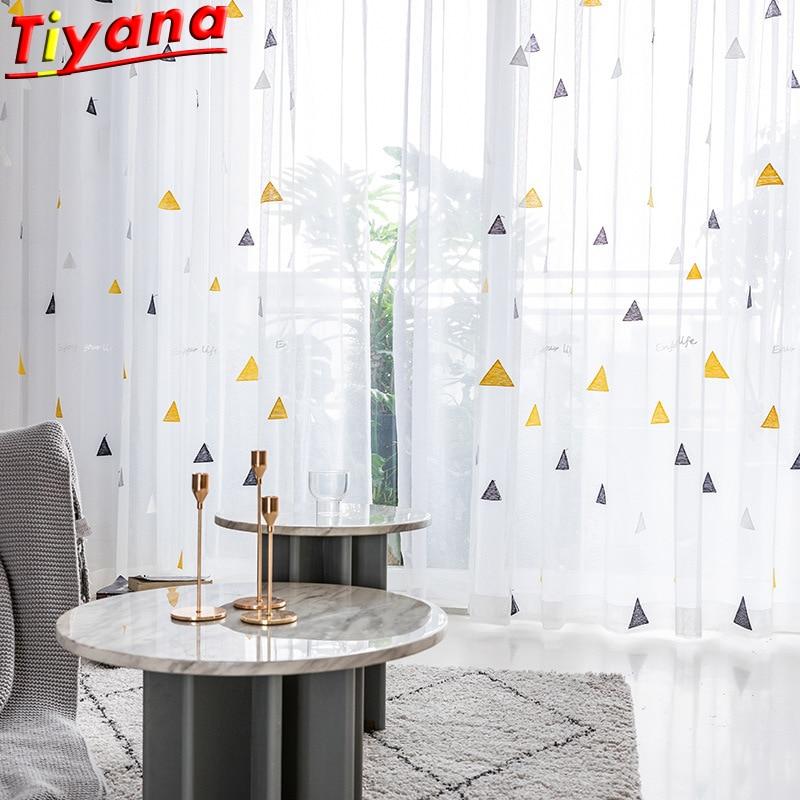 Tul bordado Triangl e negro/sala de estar amarillo para, gasa de malla blanca para habitación de Chico, balcón, productos personalizados X-ZH038 #35