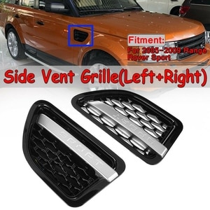 for Land Rover Range Rover Sport 2005-2009 Black & Chrome Front Side Fender Air Vent Grille Grill Assemblies