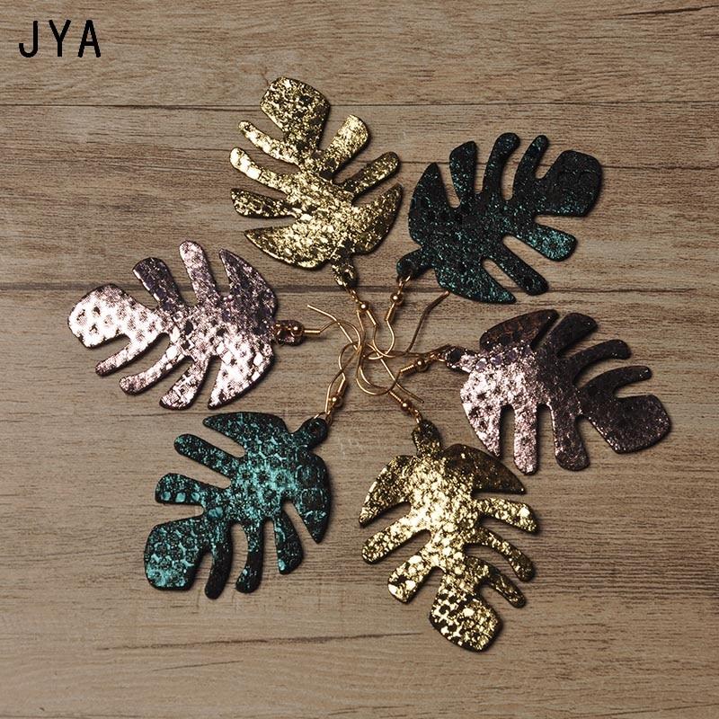 Женские серьги из натуральной кожи Cpop, большие массивные серьги с блестящими листьями, модные ювелирные изделия, новые современные зимние в...