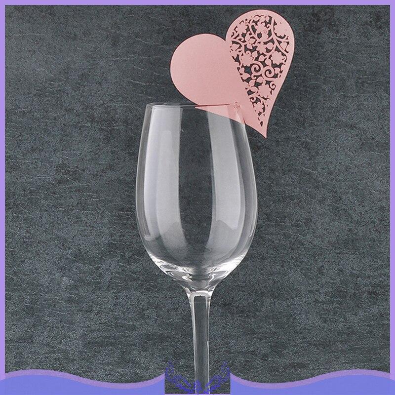 50 piezas con forma de corazón, copa de vino de cristal 3D, tarjeta de corte por láser, nombre, lugar, tarjeta, decoraciones bodas fiestas de cumpleaños para el hogar