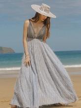 Womens Summer Sundress Vintage Elegant Slim Bright Silk Chiffon Dress Sexy Deep V-Neck Backless Beach Casual Boho Maxi Dress
