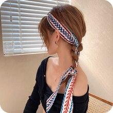 Hair Band Women's Hair Braid Silk Scarf Hair-Binding Ribbon Super Fairy Long Streamer Headscarf Head