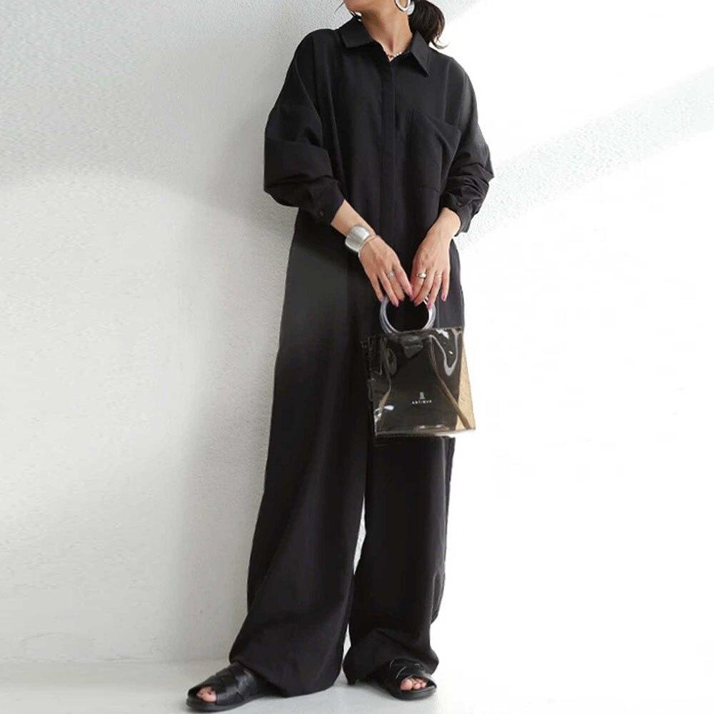 Женский комбинезон с длинным рукавом, повседневный однотонный комбинезон в Корейском стиле, комбинезон в японском стиле на осень-зиму 2021