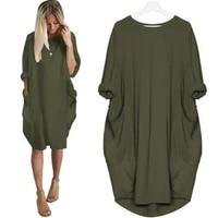 high quality women dresses casual solid color o neck long sleeve pockets knee length baggy dress vestido de mujer for daily life