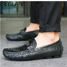 Mring première couche en cuir pois chaussures pour hommes crocodile motif affaires chaussures décontractées en cuir hommes respirant sauvage