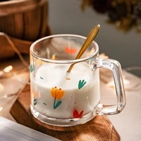 ins korean version of printed tulip glass hand painted flower cup milk cup coffee cup home net red glass water cup