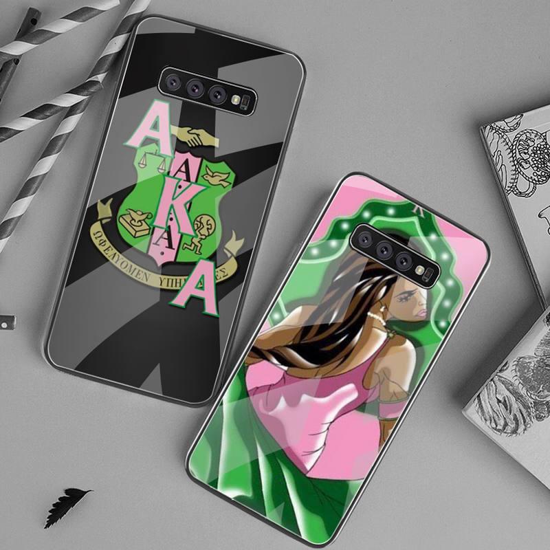 YJZFDYRM también conocido como Diosa Alpha Kappa cliente teléfono caso de vidrio templado para Samsung S20 más S7 S8 S9 S10 Plus Nota 8 9 10