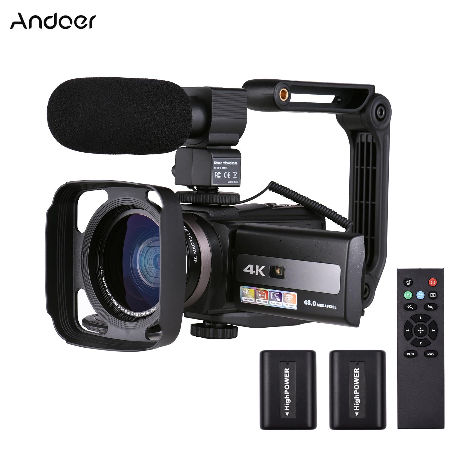 Andoer 4K 60FPS الترا HD كاميرا فيديو رقمية كاميرا فيديو DV 48MP 16X التكبير 3 بوصة تدوير LCD تعمل باللمس واي فاي الأشعة تحت الحمراء للرؤية الليلية