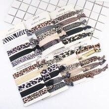 5 pièces/ensemble nouvelle mode imprimé léopard élastique bandes de cheveux Yoga anneau de cheveux accessoires de cheveux femmes et filles coiffure