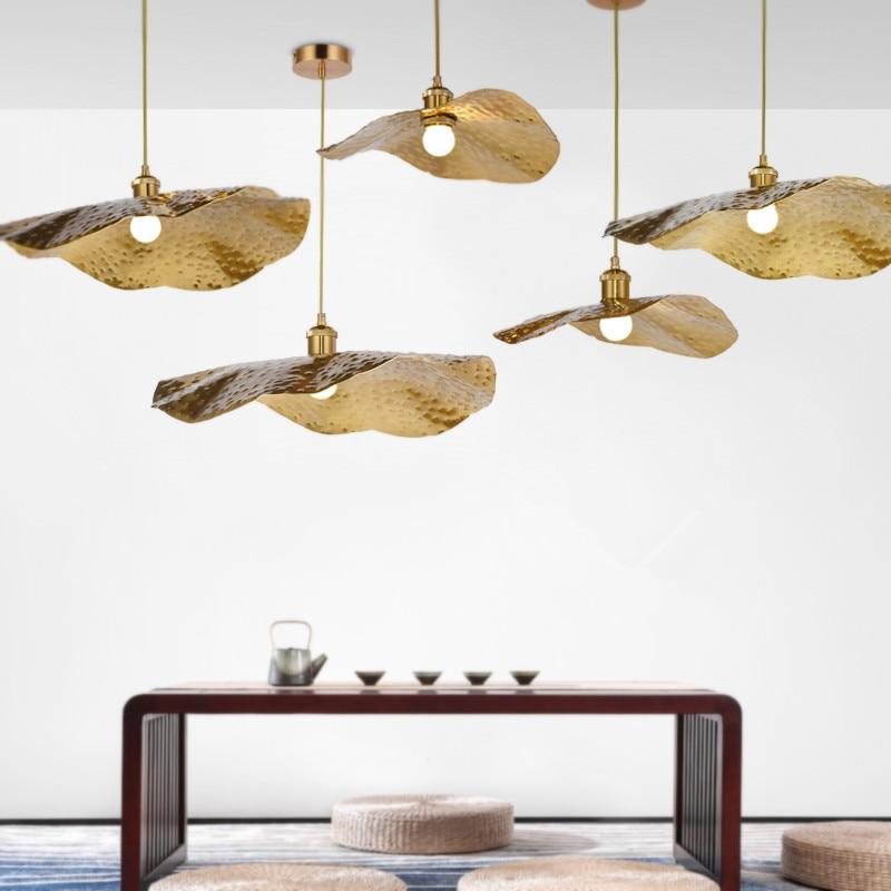 مصباح معلق نحاسي على شكل أوراق اللوتس ، تصميم إبداعي ، مثالي لغرفة النوم أو غرفة المعيشة أو البار.