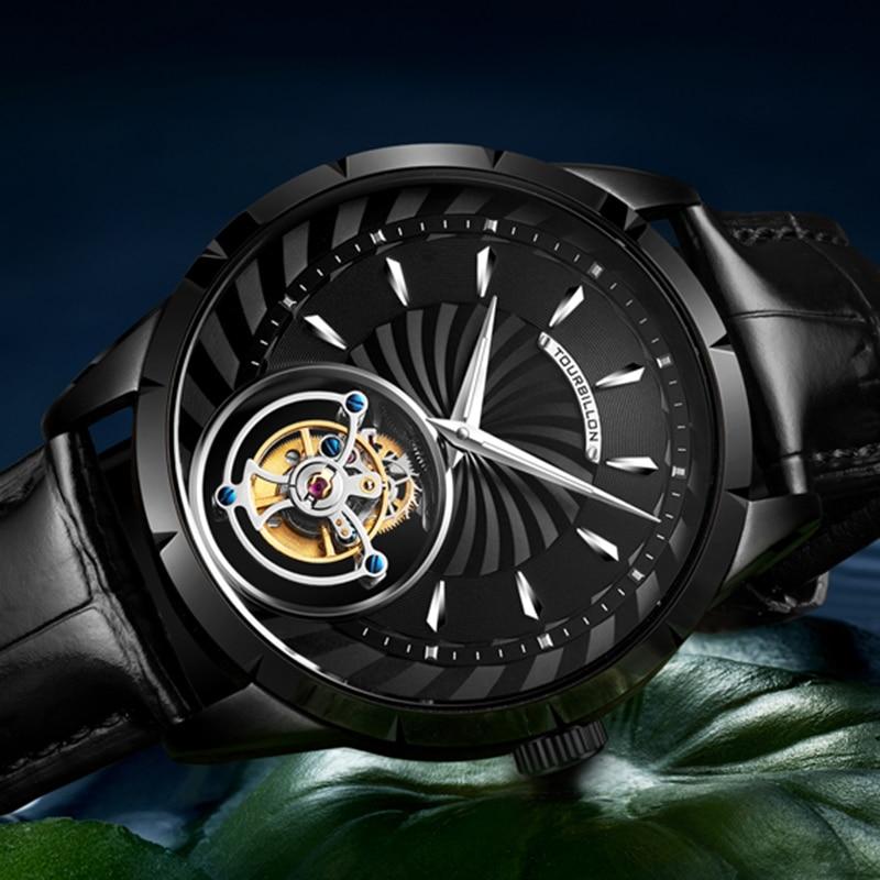 GIV Real Tourbillon Movement Men Mechanical Wristwatches Skeleton Wathes Sapphire Watch Male Clock W