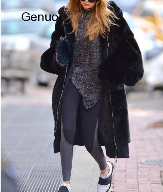 Зимняя теплая куртка с капюшоном большого размера, длинная однотонная куртка с искусственным мехом, новинка 2020, повседневная женская мехов...