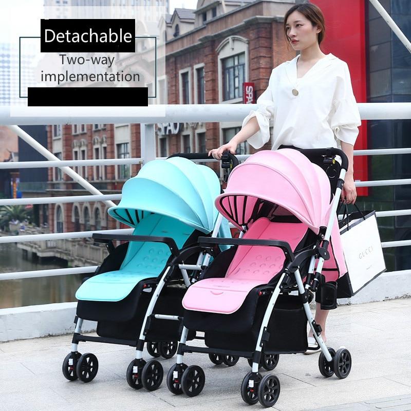 عربة أطفال مزدوجة قابلة للطي خفيفة الوزن ، عربة أطفال مزدوجة مع ممتص للصدمات ، منظر طبيعي مرتفع ، يمكن حملها على الاستلقاء
