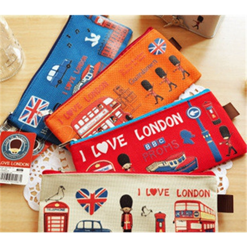 Londres estilo lápiz caso bolsa para maquillaje cosméticos bolsa funda cartuchera las mujeres bolsas de cosméticos cartera fresca cremallera carcasa para monedas